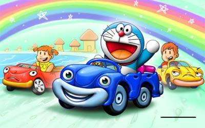 Doraemon đua xe trên phố