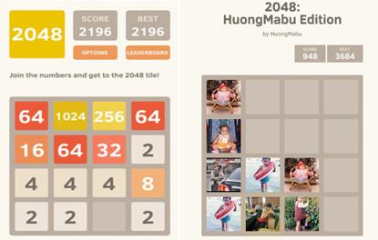 Hướng dẫn tự chế game 2048 sử dụng ảnh và chữ tùy thích